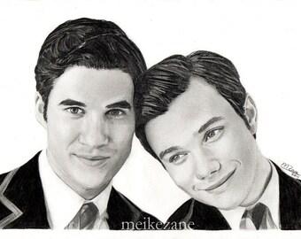 Darren Criss & Chris Colfer - 'Klaine' drawing print - A4