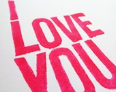TYPOGRAPHY PRINT - Anniversary, Love, Wedding - Each Day I Love You More (Magenta) Linocut Art 8x10
