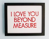 PRINT - Love, Wedding, Anniversary - I Love You Beyond Measure (Red) Linocut Art 8x10