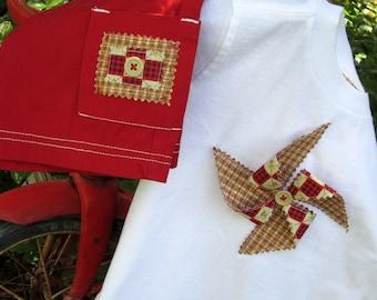 Pinwheel tee shirt and red short set---size 18 mo
