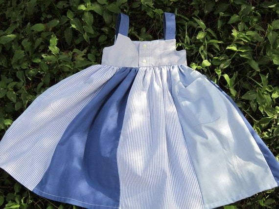 Daddy's Little Girl Dress---upcycled from mens dress shirts---size 5/6