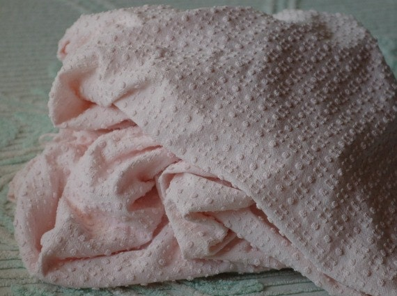 Vintage Cotton Chenille Bedspread Fabric - Baby Pink Dots and Dashes with Silver Lurex Thread
