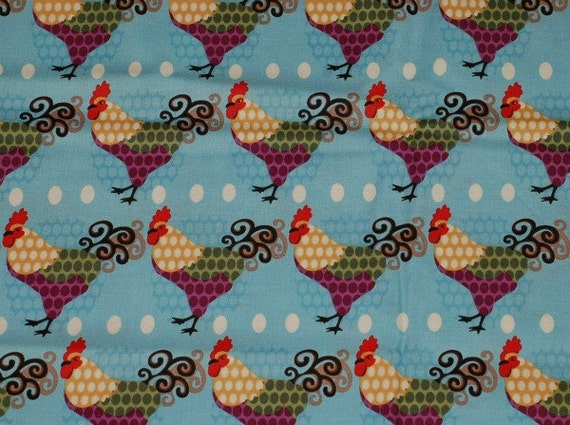 Colorful Rooster Fabric on Bright Sky French Blue - Hoodie's Collection 2008