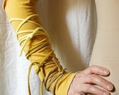 Arm Warmers in Mustard Yellow, Funky Wrapped Wrists, Cuffs, Eco Tattered Style.