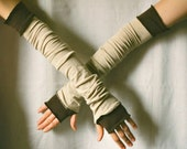 Creased Arm Warmers Upcycled Clothing Funky Beige with Brown Long Arm Warmers Wrapped Wrists Cuffs Eco Tattered Style Woman's Clothing (11)