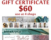 Gift Certificate at 4 shops Last Minute Gift Holidays Gift Voucher Christmas Gift Upcycled Clothing Arm Warmers Necklace Leg Warmers