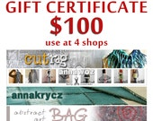 Gift Certificate at 4 shops Last Minute Gift Holidays Gift Christmas Gift VoucherUpcycled Clothing Arm Warmers Necklace Leg Warmers