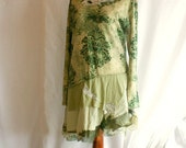 Green Tunic Size L Large Upcycled Woman's Clothing Tattered Fairy Romantic Dress Funky Shabby Chic Eco Friendly Style Upcycled Clothing