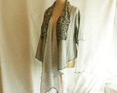 Grey Jacket  Size M L Medium Large Asymmetrical Loose Blazer  Upcycled Woman's Clothing Long Front Short Back Shabby Chic Eco Friendly Style