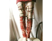 Leg Warmers Reddish Beige Upcycled Woman's Clothing Eco Funky Style Shabby Chic Eco Friendly Upcycled Clothing Spring Fashion Accessories