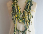Green Yellow Art Mess Fringe Necklace Shreded Scarf Upcycled Woman's Clothing Funky Tattered Eco Friendly Style Upcycled Clothing