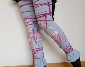 Leg Warmers in Pale Lilac Funky Style Upcycled Woman's Clothing Shabby Chic Eco Friendly Style Upcycled Clothing