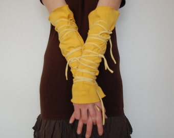 Arm Warmers Upcycled Woman's Clothing Funky Wrapped Wrists Yellow Eco Tattered Style Shabby Chic Eco Friendly Style Upcycled Clothing