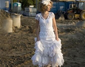 White Fairy Dress Upcycled Wedding Dress Grown Tattered Romantic Dress Upcycled Woman's Clothing Shabby Chic Funky Eco Style