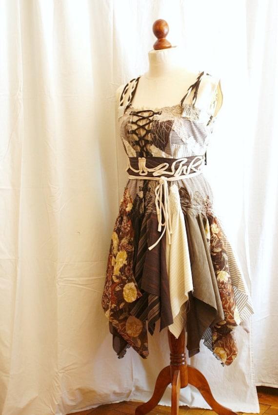 Tattered Dress, Fairy Dress, Romantic Brown Dress. Funky Eco Style.