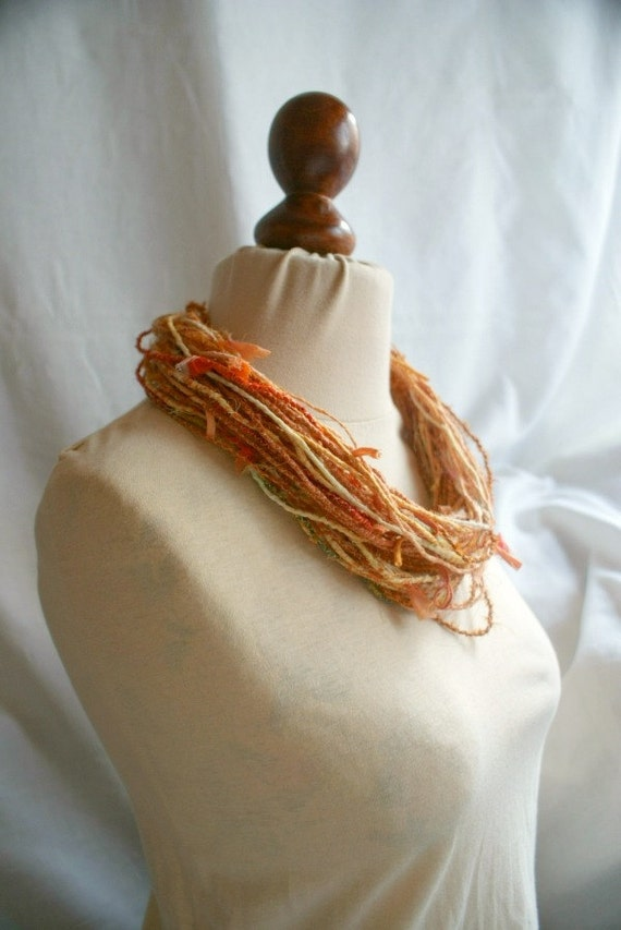 Tattered Necklace Orange Yellow Jagged Fabric Necklace Upcycled Woman's Clothing Eco Funky Style Shabby Chic Eco Friendly Style