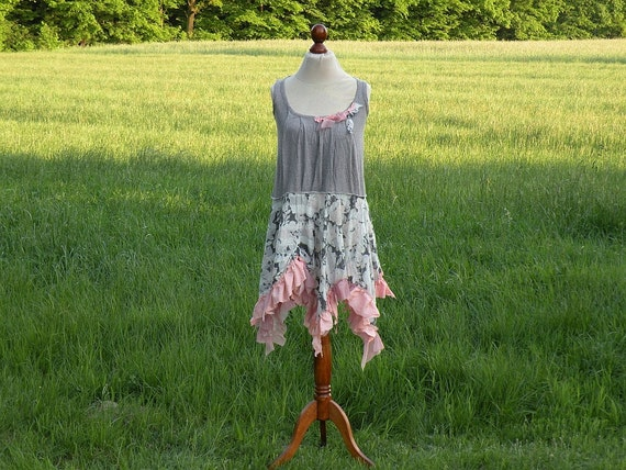 Grey Light Pink Peach Asymmetric Fairy Tunic Size L XL Upcycled Woman's Clothing Romantic Dress Funky Shabby Chic Style Upcycled Clothing