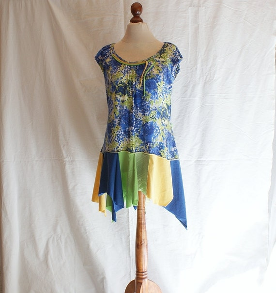 Summer Dress Blue Yellow Green Size L XL Upcycled Woman's Clothing Romantic Dress Funky Shabby Chic Eco Friendly Style Upcycled Clothing