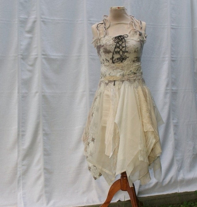 Mori girl natural fairy tattered bridesmaid dress beige by for Nature themed wedding dress