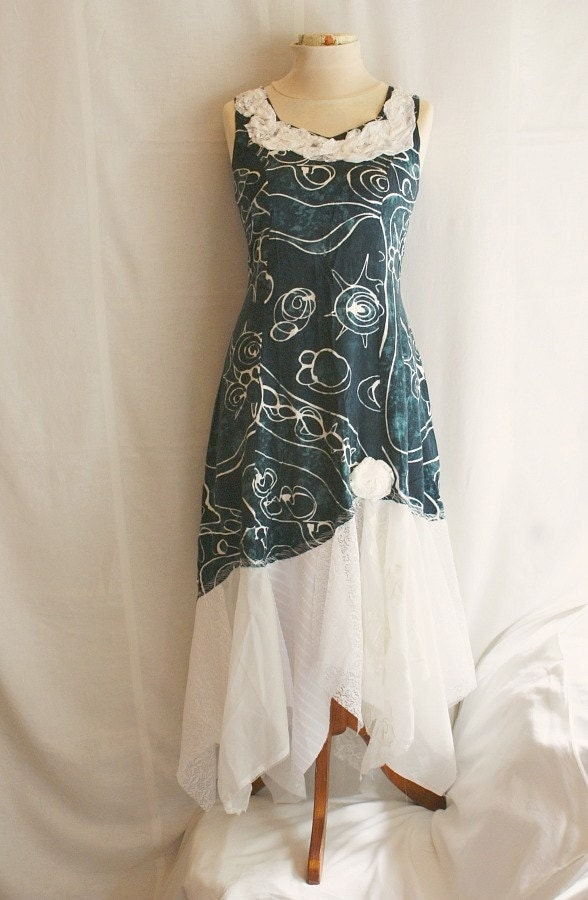 fairy long dress upcycled woman 39 s clothing tattered and by. Black Bedroom Furniture Sets. Home Design Ideas