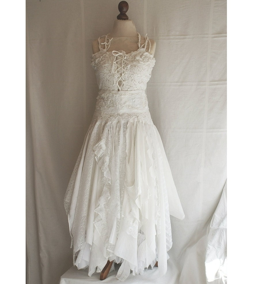 Deposit for aysha upcycled wedding dress fairy tattered by for Wedding dresses shabby chic