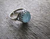 Sea . sterling silver . aqua chalcedony