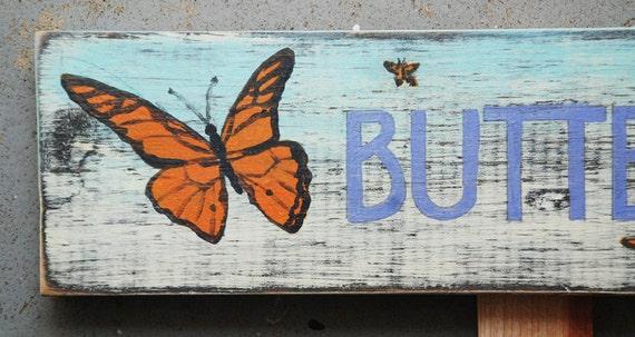 """Hand-painted Garden Sign """"BUTTERFLIES"""""""