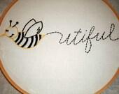"Bee ""Beautiful"" Embroidery hoop wall decor"