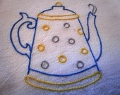 Bright Polka Dotted Hand Embroidered Teapot Dish Towel