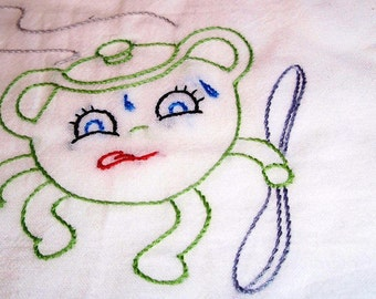Light Green Hand Embroidered Bean Pot Dish Towel
