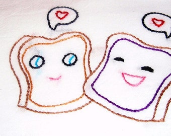 Sweet Peanut Butter and Jelly Love Hand Embroidered Dish Towel