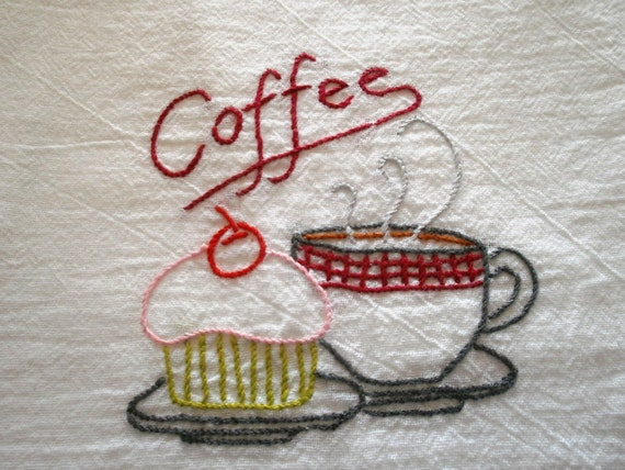 Vintage embroidered Coffee hand towel