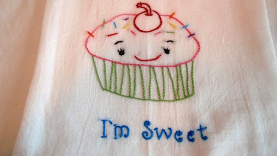 I'M SWEET. Adorable Cupcake Hand Embroidered Flour Sack Towel