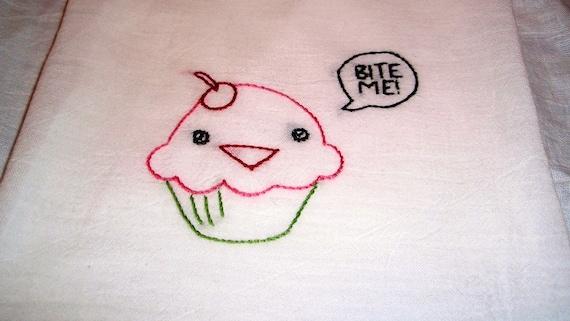 Bite Me Cute Cupcake Hand Embroidered Dish Towel