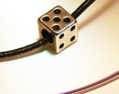 Gift Lucky Dice Necklace Good Luck Play Game Unique Gift for Man gift ideas for Men Necklace Silver Cube Black Necklace gift for dad