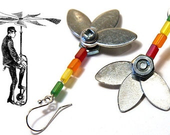 Industrial Flower Earrings Unique Metal Flower Earrings Steampunk up-cycled metal parts Stainless Steel Bolts and Nuts Rainbow Flower