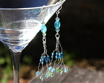 Summer Party Gift Computer Earrings Wearable Tech RESISTOR Chandelier Earrings Frosted Beach Glass Beads Green Blue Crystals Eco Friendly