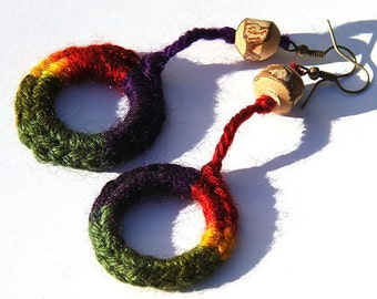Summer Party Summer Party Rainbow Croche Circle Earrings Natural Tree Branch Wooden Bead bohemian jewelry crocheted jewelry gypsy earrings