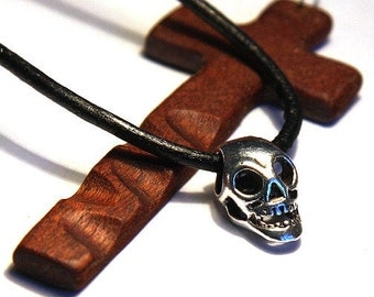 Summer Party Gift Father's Day Gift Halloween Silver Hollow Skull Pendant Detailed Long Head Open Eyes & Jaw with Teeth Black Rubber For Man