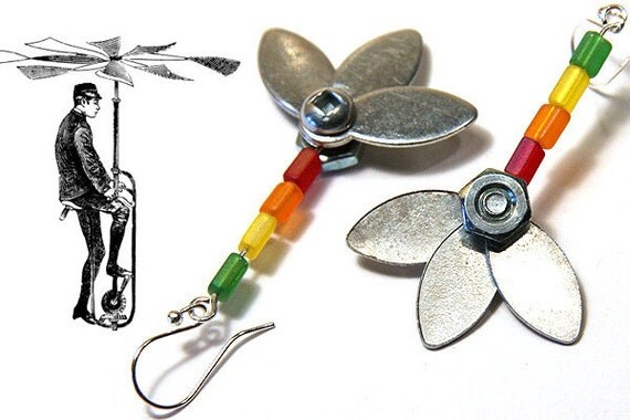 Summer Outdoors Industrial Flower Earrings Unique Metal Flower Earrings Steampunk metal parts Stainless Steel Bolts and Nuts Rainbow Flower