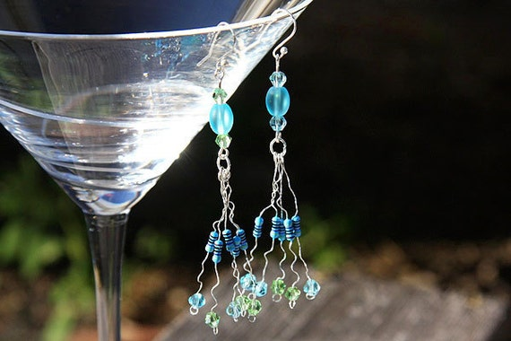 Computer Earrings, Wearable Tech, RESISTOR Chandelier Earrings, Frosted Beach Glass Beads, Green Blue Crystals, Eco Friendly
