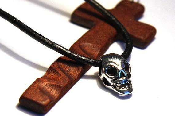 Father's Day Gift Halloween Silver Hollow Skull Pendant. Beautifully Detailed. Long Head. Open Eyes & Jaw with Teeth. Black Rubber. For Man