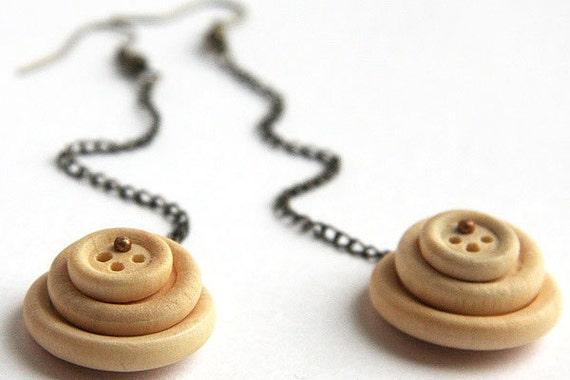 Bohemian Earrings, Long Chain Earrings, Natural Wooden Button Earring, Gunmetal Chain. Antique Brass Earrings.  Boho Jewelry