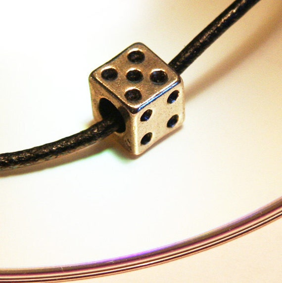 Lucky Dice Necklace. Good Luck SPELL Included. Gift for Man or Woman, Geekery Necklace, Silver and Black Necklace