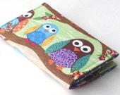 Owl Business Card Holder, Handmade Credit Card Case, Woodland Animals, purple
