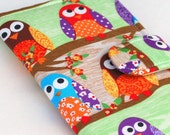 Owl Bifold Wallet, Women's Fabric Clutch, Woodland Forest, Hooty Owls, Made to Order
