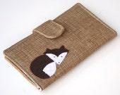Fox Wallet Bifold, Organic Fabric Clutch, Vegan Wallet khaki, teal, white, Made To Order