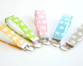 Handmade Key Fobs, Wristlet Keychain, Elephant Pastel Rainbow Assortment - Set of 5 Pink, Blue, Green, Yellow, and Grey
