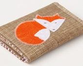 Business Card Case, Fox Applique Wallet, Organic Fabric Woodland theme