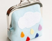 Coin Purse, Rainbow Cloud and Raindrops, Wool Felt Applique Pouch in Light Blue Linen Made to Order